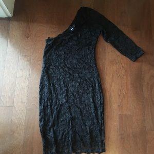 ASOS black lace one sleeve dress size 8